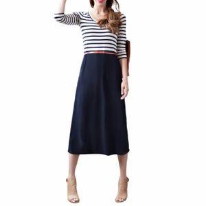 Sonnet James Kate Navy White Stripe Dress medium